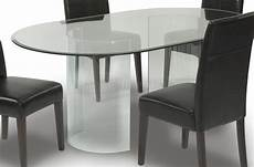 Clear Glass Oval Top Modern Dining Table W Optional Chairs