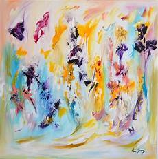 toile abstraite grand format avec fleurs