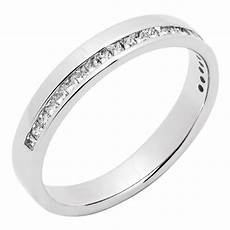 platinum modern diamond half channel wedding ring pravins jewellers