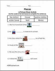 places in my community worksheets 15963 picture cloze community places elem worksheet i abcteach abcteach