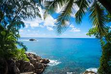 wallpaper sea bay clouds coast palm trees clear sky tropical island lagoon