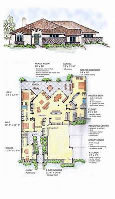 southwest house plans with courtyard southwest style house plan 56540 with 3 bed 3 bath 3 car