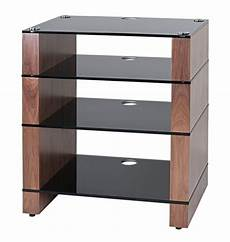 hifi stand hi fi rack four shelf walnut black