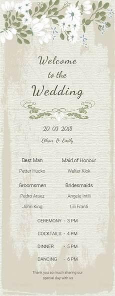 vintage wedding program card template in psd word publisher illustrator indesign