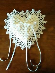 cuscino cuore uncinetto cuscino portafedi ad uncinetto feste matrimonio di l