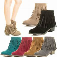 womens fringe cowboy western ankle boot booties almond toe