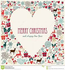 vintage merry christmas love heart card stock vector illustration of abstract composition