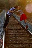 Couple Kissing On A Railway Track HD Wallpaper