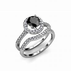 1 45 ct tw black white diamond halo bridal ring wedding band in gold ebay