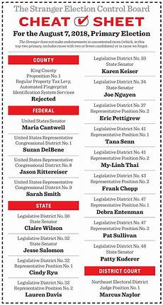 primary election cheat sheet features the stranger