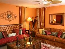 orange living room with inspired daybed hgtv