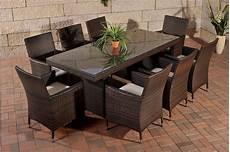 gartentisch und stühle polyrattan sitzgruppe avignon big 8 st 252 hlen glastisch auflagen garnitur braun ebay
