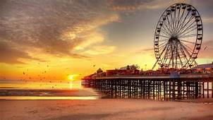 Sunset Beach Ferris Wheel UK Pier Blackpool Birds