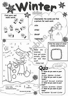 winter clothes worksheets 19966 winter clothes esl worksheet by numberseventeen