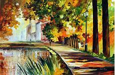 summer pond palette knife oil painting on canvas by