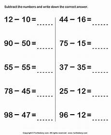 subtracting two two digit numbers worksheet turtle diary