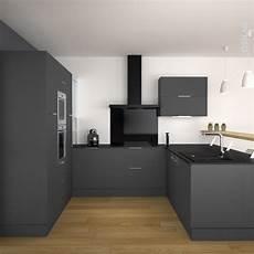 cuisine noir mat cuisine grise porte effet soft touch ginko gris mat