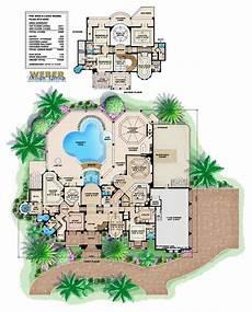 mediterranean house plans with pool mediterranean house plan 2 story waterfront mansion floor