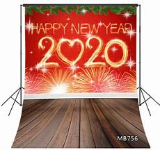 5x7ft Vinyl Merry Happy Year by Happy New Year 2020 Rustic Wood Floor Backdrop 5x7ft