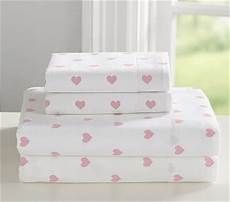 heart flannel sheet pink sheet and pillowcase sets by pottery barn kids