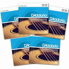 guitar strings 12 53 d addario ej16 phosphor bronze acoustic strings 12 53 light 5 packs