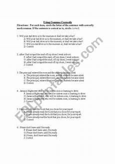 english worksheets using commas correctly