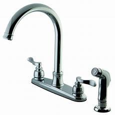 designer faucets kitchen kingston brass designer 2 handle standard kitchen faucet with side sprayer in polished chrome