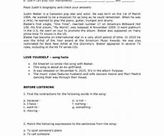 worksheets with answers 18172 song worksheet yourself by justin bieber