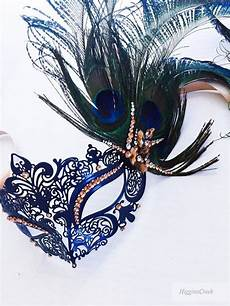 stunning masquerade mask peacock feather masquerade masks gold navy theme jewels feathers in