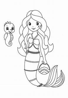 mermaid with pet coloring page mermaid