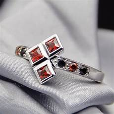 14k gold harley quinn natural garnet and black sapphire