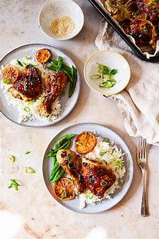 perfectly baked honey soy chicken thighs and with