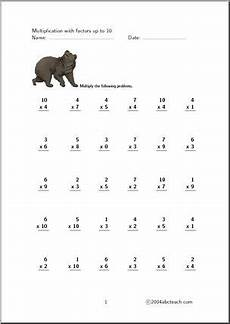 multiplication worksheets up to 10 4627 multiplication up to 10 set 5 worksheet abcteach