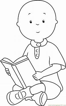 caillou reading a book coloring page free caillou