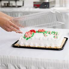 d w fine pack g83 1 1 4 size 1 2 layer sheet cake display container with clear lid 80 case