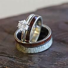 antler and wood wedding ring set with diamond engagement ring 3489 diamond wedding rings