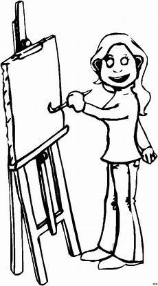 Gratis Malvorlagen Comic Malerin An Staffelei Ausmalbild Malvorlage Comics