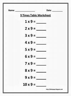 kids page 9 times multiplication table worksheet
