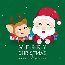 merry christmas greeting card with cute santa claus and reindeer premium vector