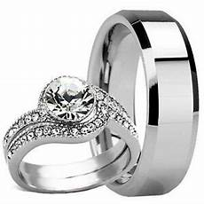 3 pc his hers mens tungsten 8mm band and womens engagement wedding ring new ebay