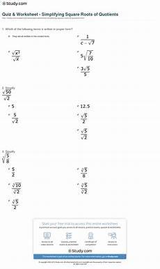simplifying square roots worksheet quiz worksheet simplifying square roots of quotients study com