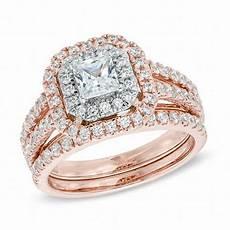 1 1 2 ct t w princess cut diamond double frame bridal