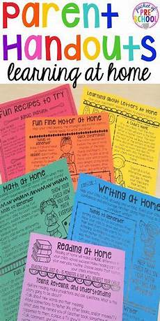 building skills learning at home parent handouts aka fun homework for preschoolers