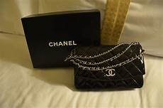 chanel in chanel patent black wallet on chain woc brand new in box