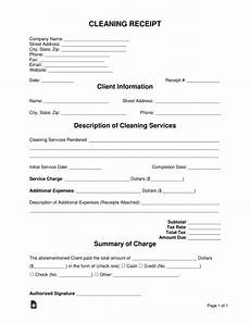 free cleaning service receipt template pdf word