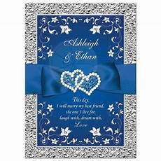 royal blue wedding invitation faux foil silver floral printed ribbon bow double hearts