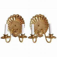 brass shell wall sconces pair for sale at 1stdibs