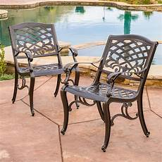 set of 2 outdoor patio furniture bronze cast aluminum