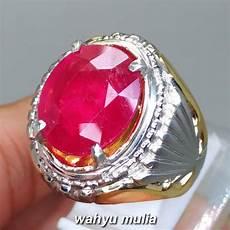 cincin batu permata warna merah natural ruby asli kode 1288 wahyu mulia