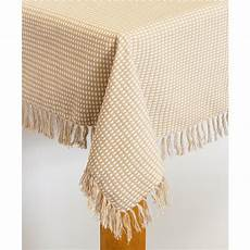 lintex homespun fringed 60 in 120 in ecru 100 cotton tablecloth 381355 the home depot